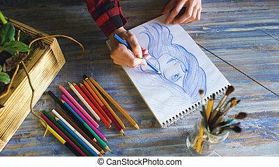 スケッチ, 女, 芸術家, 仕事, 手, ペーパー, ノート, クローズアップ, 女性, pencils., 絵