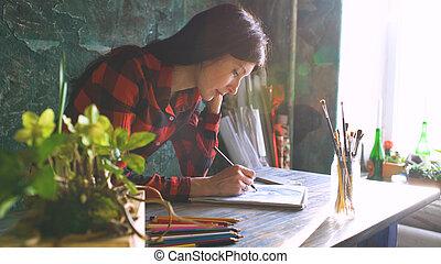 スケッチ, 女, 芸術家, 絵, 太陽, 若い, 明るい, ペーパー, 窓, ノート, 火炎信号, pencil.