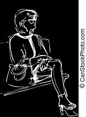 スケッチ, 女, 若い, ベンチ, 座る, ガラス