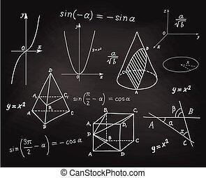 スケッチ, 学校, -, 形, 板, 数学, 幾何学的, 表現