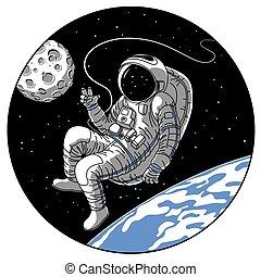 スケッチ, 宇宙飛行士, スペースイラスト, ベクトル, 宇宙飛行士, 開いた, ∥あるいは∥