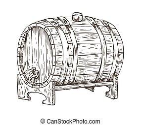 スケッチ, 小樽, 型, イラスト, ビール, ベクトル, 樽