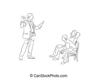 スケッチ, 座りなさい, 椅子, いたずら書き, 男性, 2