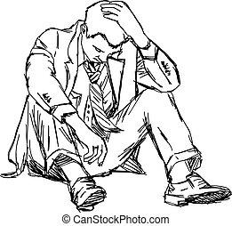 スケッチ, 座りなさい, isolated., いたずら書き, イラスト, 手, ベクトル, 引かれる, ビジネスマン, 失望させられた, 地面