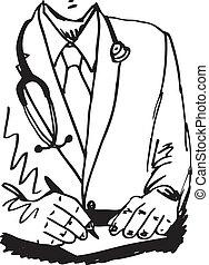 スケッチ, 彼の, オフィス, モデル, 医者, イラスト, 執筆, ベクトル, 聴診器, recipe., 机
