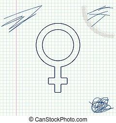 スケッチ, 性の 記号, 白いライン, 隔離された, イラスト, シンボル。, バックグラウンド。, ベクトル, ヴィーナス, 女性, woman., 有機体, ∥あるいは∥, アイコン