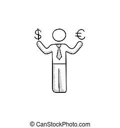 スケッチ, 手掛かり, ドル, 私達, ビジネスマン, icon., ユーロ