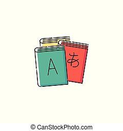 スケッチ, 手紙, isolated., 多言語である, ieroglyph, ベクトル, 本, イラスト