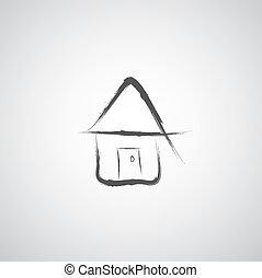 スケッチ, 手, 引かれる, 家, 私, 漫画