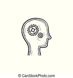 スケッチ, 手, 脳, ギヤ, 引かれる, icon.