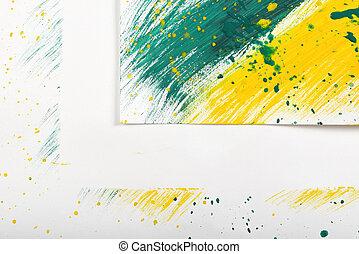スケッチ, 抽象的, 黄緑色, gouache, ブラシ, 背景, コーナー, 白, 跡, 手 - ペイントされた