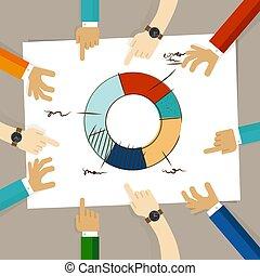 スケッチ, 指すこと, 仕事, チーム, チャート, 一緒に, 手, メンバー, 円, ペーパー, analysis., 手, ドーナツ, ミーティング, 図画, 論じなさい