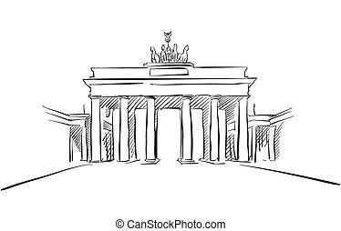 スケッチ, 挨拶, brandenburger, ベルリン, 門, カード
