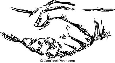 スケッチ, 握手, いたずら書き, concept., 協力, イラスト, 手, ベクトル, 引かれる