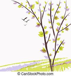 スケッチ, 春, 水彩画, 木。, 緑の風景