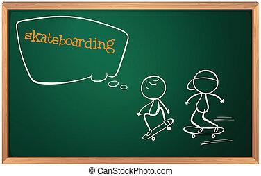 スケッチ, 板, skateboarding, 2人の人々