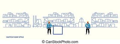 スケッチ, 概念, サービス, 棚, 貯蔵, 労働者, 流れ, スタイル, ユニフォーム, 出産, 倉庫, 箱, ロジスティックである, 内部, 横, ボール紙, 旗