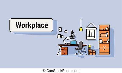 スケッチ, 概念, 労働者のオフィス, いたずら書き, 現代, キャビネット, デザイン, 仕事場, 机, 内部, 横, 家具