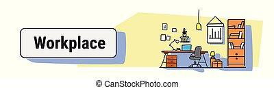 スケッチ, 概念, 労働者のオフィス, いたずら書き, 現代, キャビネット, デザイン, 仕事場, 机, 内部, 横, 旗, 家具