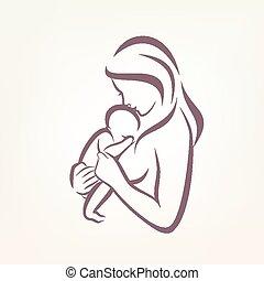 スケッチ, 概説された, シンボル, 定型, ベクトル, お母さん, 赤ん坊