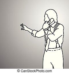 スケッチ, 権利, 電話, 支柱, 地位, サスペンダー, いたずら書き, concept., 隔離された, バックグラウンド。, 黒, レトロ, 引かれる, 身に着けていること, 彼の, ビジネス 実例, 手, タバコ, 使うこと, 灰色, ライン, ベクトル, ビジネスマン, ∥あるいは∥
