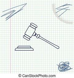 スケッチ, 正義, 裁判官, 法廷, オークション, stand., 隔離された, イラスト, 判決, ビルズ, バックグラウンド。, ベクトル, 文, 小槌, 白, ハンマー, 線, シンボル。, アイコン