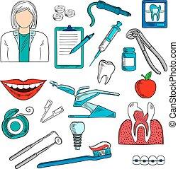 スケッチ, 歯科医, 歯科医術, 女性, アイコン