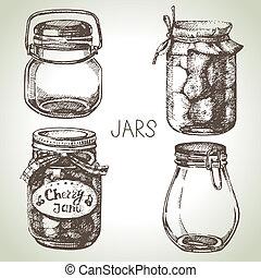 スケッチ, 無作法, set., 手, デザイン, 引かれる, ジャー, 缶詰になること, 石工