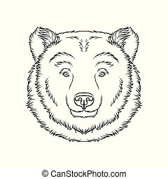 スケッチ, 熊, イラスト, 手, ベクトル, 黒い森林, 動物, 肖像画, 引かれる, 白, 頭