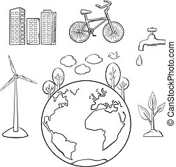 スケッチ, 環境, エネルギー, エコロジー, 緑