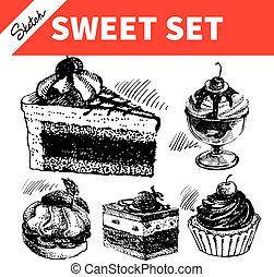 スケッチ, 甘い, set., 手, 引かれる, イラスト, の, ケーキ, そして, アイスクリーム