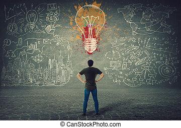 スケッチ, 立つ, ビジネス, ヒップ, 壁, ライト, 若い, 電球, 確信した, 後部, 手, 前部, 引かれる, 人, カラフルである, 光景