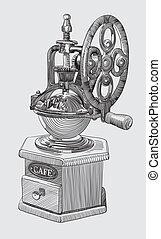 スケッチ, 粉砕器, コーヒー, 図画