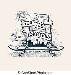 スケッチ, 紋章, スタイル, skateboarding