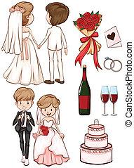 スケッチ, 結婚式, 単純である