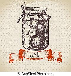 スケッチ, 缶詰になること, 型, ジャー, 手, 無作法, デザイン, 引かれる, tomato.