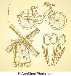スケッチ, 自転車, オランダ, 背景, ベクトル, チューリップ, 風車