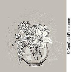 スケッチ, 花のつぼ, ガラス, ベクトル, 背景, カード
