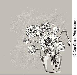 スケッチ, 花のつぼ, ベクトル, デザイン, 背景, 内部, カード