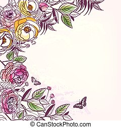 スケッチ, 花, バラ, pions, ベクトル, 背景, カード