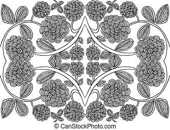 スケッチ, 花, 抽象的, イラスト, ベクトル, 背景, design.