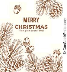 スケッチ, 装飾, 構成, スタイル, メリークリスマス