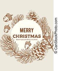スケッチ, 装飾, 構成, 花輪, スタイル, メリークリスマス