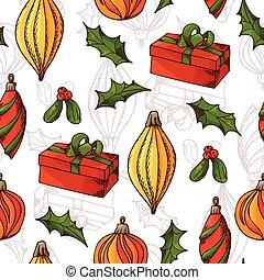 スケッチ, 要素, パターン, seamless, イラスト, 手, ベクトル, 引かれる, style., クリスマス, design.