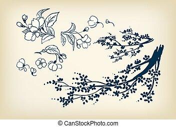 スケッチ, 要素, 花, さくらんぼ, イラスト, ベクトル, デザイン, sakura