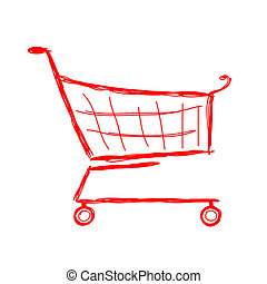 スケッチ, 買い物, デザイン, カート, あなたの, 赤