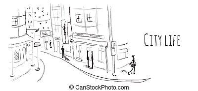 スケッチ, 通り, town., イラスト, ベクトル, 古い, style.