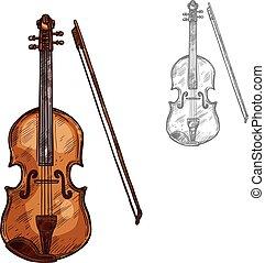 スケッチ, 道具, ベクトル, 音楽, バイオリン, コントラバス