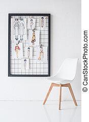 スケッチ, 部屋, 壁フレーム, 黒, 椅子, 白