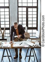 スケッチ, 鉛筆, デザイナー, 間, 保有物, 内部, 作成